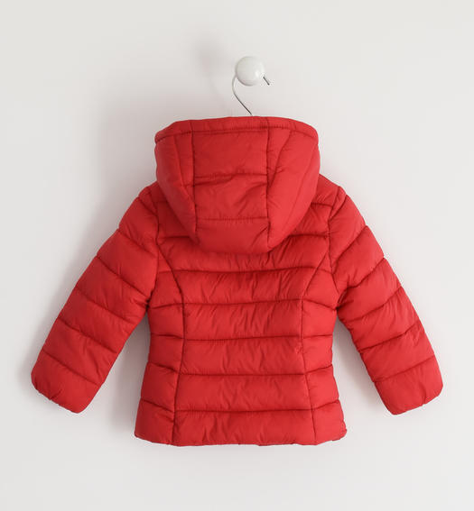 100 grams down jacket with contrasting zip for baby girls from 6 months to 7 years Sarabanda ROSSO-2253
