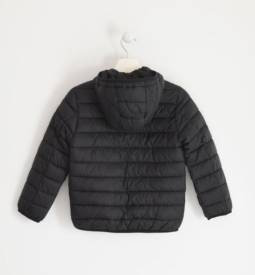 Down jacket for boy 100 grams model with hood for boy from 6 to 16 years Sarabanda NERO-0658