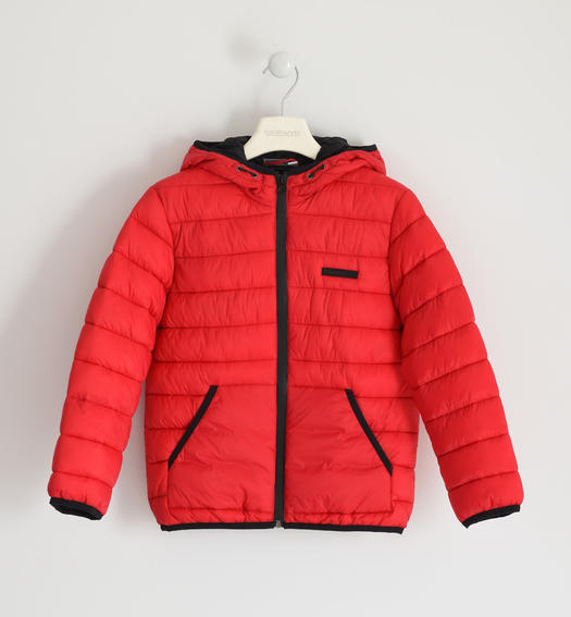 Down jacket for boy 100 grams model with hood for boy from 6 to 16 years Sarabanda ROSSO-2253