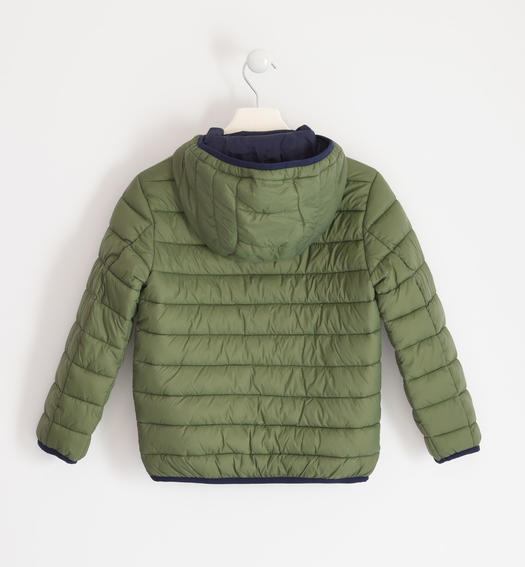 Down jacket for boy 100 grams model with hood for boy from 6 to 16 years Sarabanda VERDE SALVIA-4951