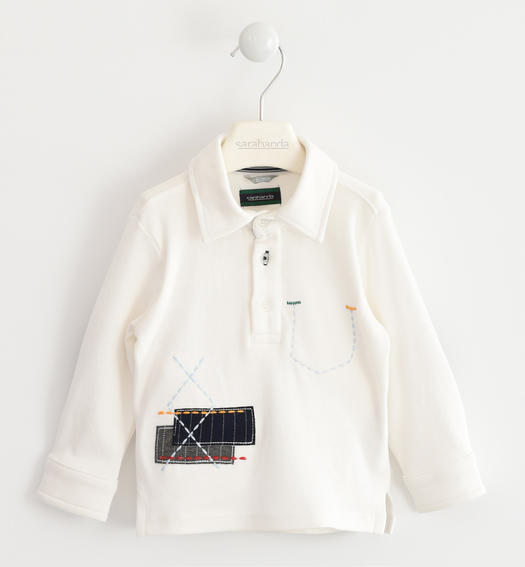 Polo made of 100% cotton interlock with embroidery for baby boys from 6 months to 7 years Sarabanda PANNA-0112