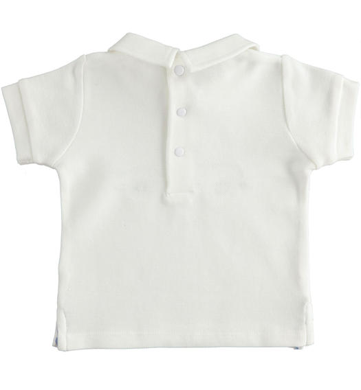 Short-sleeved 100% cotton piquet baby boy s polo shirt from 0 to 24 months Minibanda BIANCO-0113