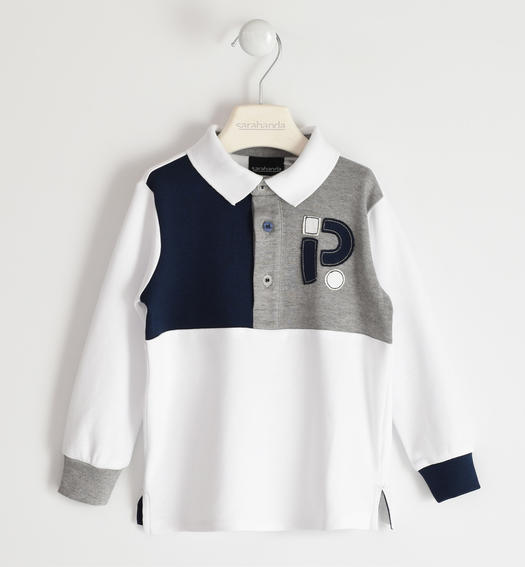 Long-sleeved polo shirt 100% cotton with colour blocks for boy from 6 months to 7 years Sarabanda BIANCO-0113