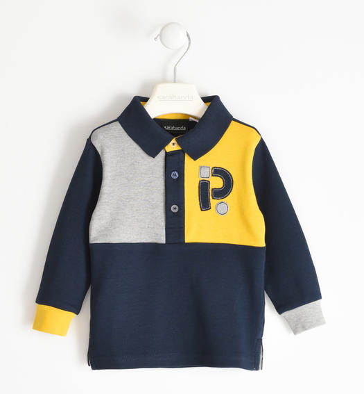 Long-sleeved polo shirt 100% cotton with colour blocks for boy from 6 months to 7 years Sarabanda NAVY-3885