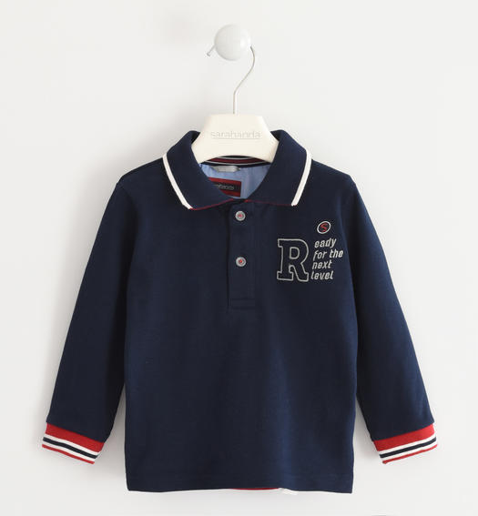Polo shirt with striped ribbed cuffs for baby boys from 6 months to 7 years Sarabanda NAVY-3885