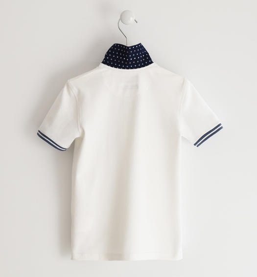 Stretch pique polo shirt with micro polka dot pocket for boy from 6 to 16 years Sarabanda BIANCO-0113