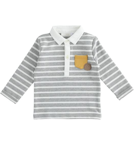 Newborn stretch cotton-blend polo shirt with all-over micro-striped pattern for newborn from 0 to 24 months Minibanda GRIGIO MELANGE-8992