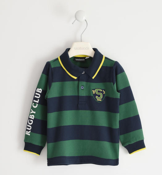 "Striped cotton polo shirt with ""Rugby Club"" lettering for boy from 6 months to 7 years Sarabanda VERDE-4726"