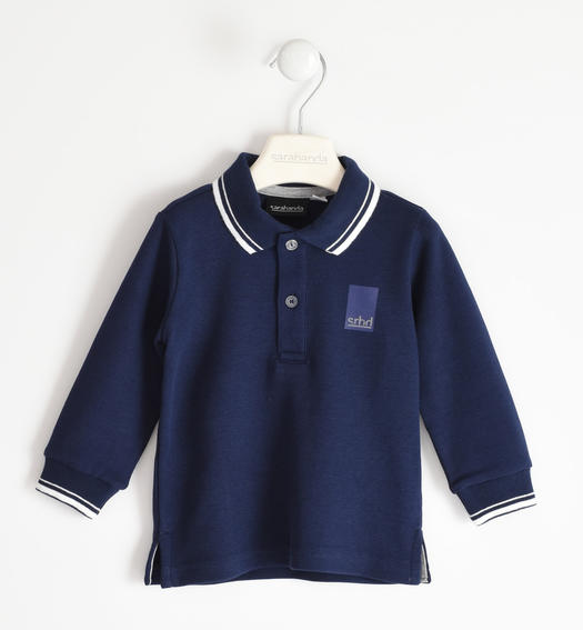 Solid colour polo shirt in 100% cotton for boy from 6 months to 7 years Sarabanda NAVY-3854