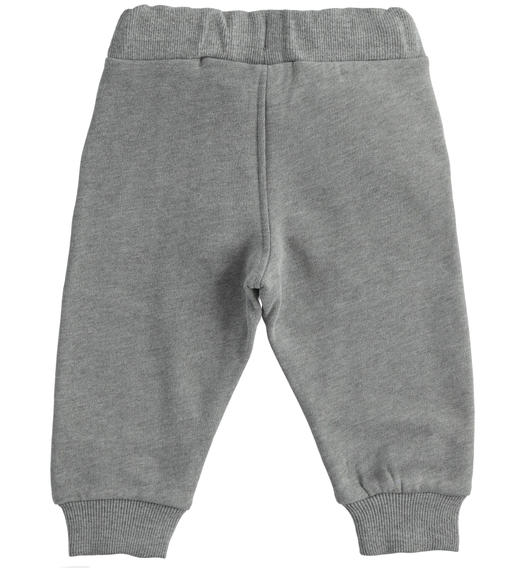 Practical trousers in brushed fleece for boy from 6 months to 7 years Sarabanda GRIGIO MELANGE-8993