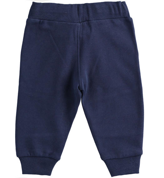 Practical trousers in brushed fleece for boy from 6 months to 7 years Sarabanda NAVY-3854