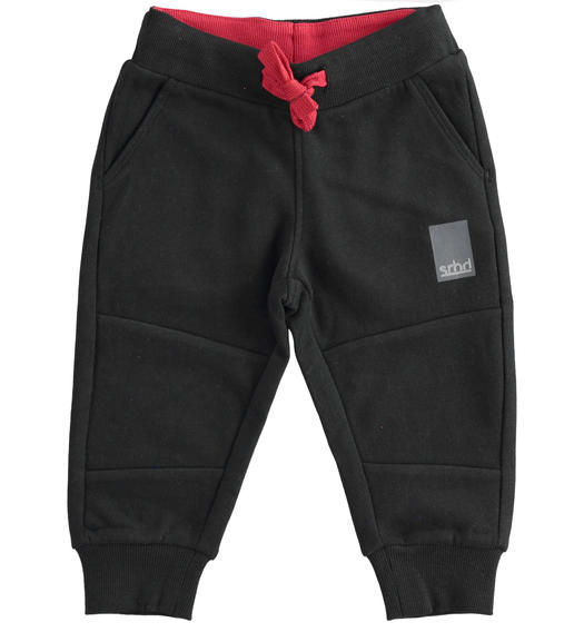 Practical trousers in brushed fleece for boy from 6 months to 7 years Sarabanda NERO-0658