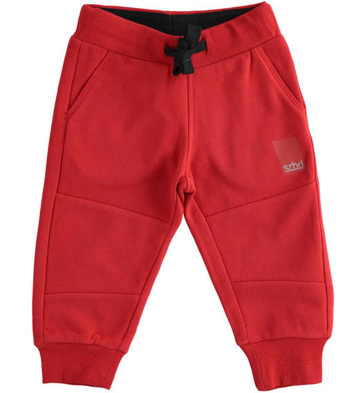 Practical trousers in brushed fleece for boy from 6 months to 7 years Sarabanda ROSSO-2253