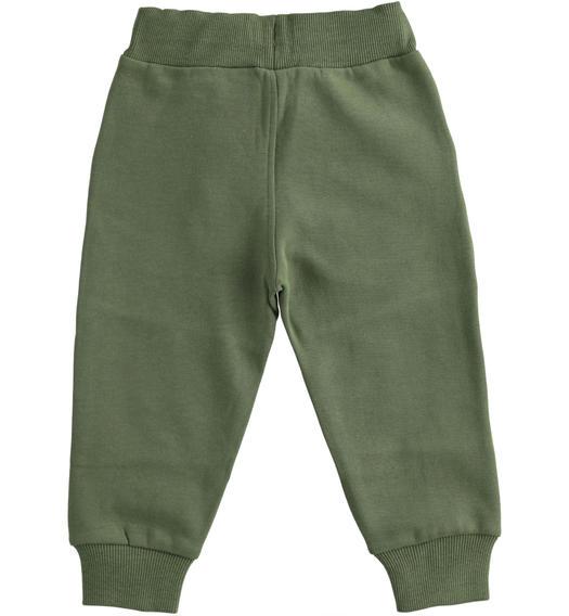 Practical trousers in brushed fleece for boy from 6 months to 7 years Sarabanda VERDE SALVIA-4951