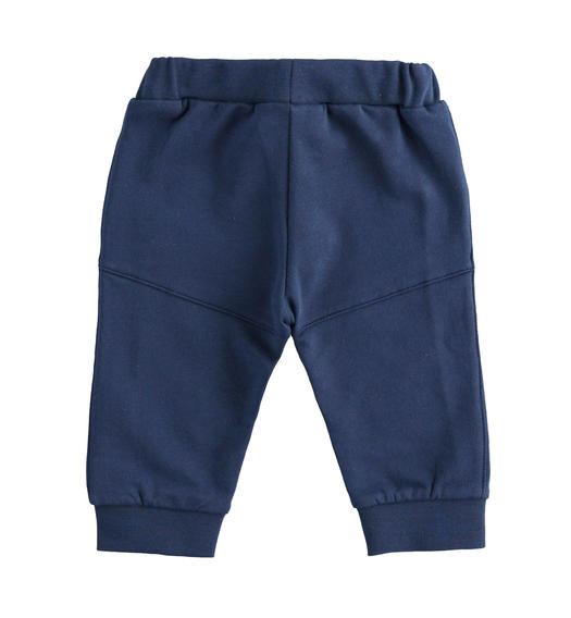 Practical brushed fleece trousers for newborn boy from 0 to 24 months Minibanda NAVY-3854