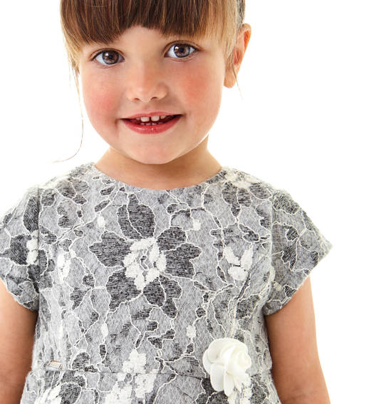 Sarabanda Lace short-sleeved dress for girls aged from 6 months to 7 years of age GRIGIO MELANGE-8992