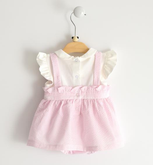 Refined faux double-headed romper with collar and white cotton jersey top for baby girl from 0 to 24 months Minibanda ROSA-2763