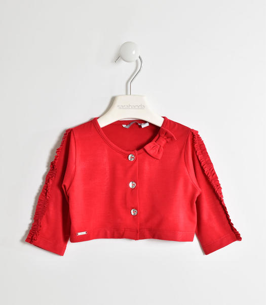 Girl s viscose shrug with three-quarter sleeves for baby girls from 6 months to 7 years Sarabanda ROSSO-2246