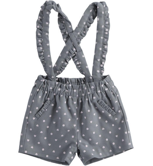 Short dungarees for newborn girl with hearts and polka dots from 0 to 24 months Minibanda GRIGIO-ROSA-6NP9