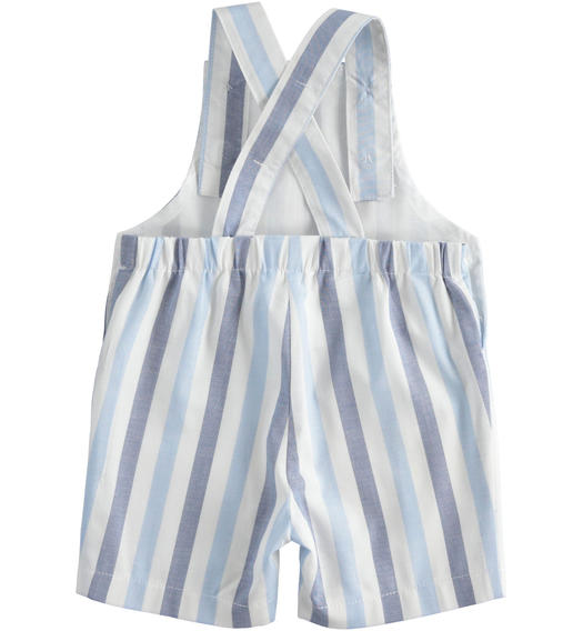 Stretch cotton baby boy dungarees with kangaroo pocket for baby boy from 0 to 24 months Minibanda AZZURRO-3633