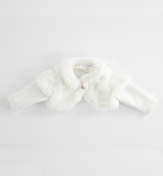 Faux fur shrug for newborn from 0 to 24 months Minibanda PANNA-0112