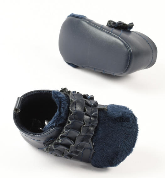 Newborn girl eco-leather shoes with ruffles from 0 to 24 months Minibanda NAVY-3854
