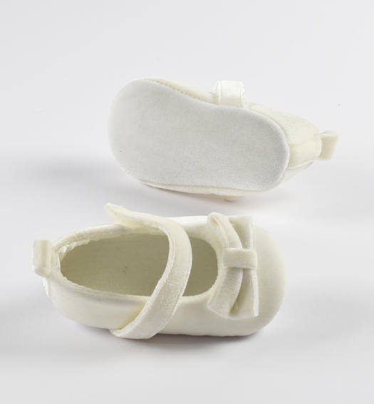 Newborn velvet ceremony shoes with bow and Velcro strap from 0 to 24 months Minibanda PANNA-0112