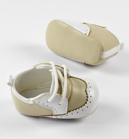 Faux leather baby shoes with fake laces and white details for baby boy from 0 to 24 months Minibanda ECRU'-0154
