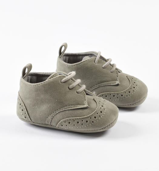 Faux leather newborn shoes for ceremony from 0 to 24 months Minibanda GRIGIO-0518