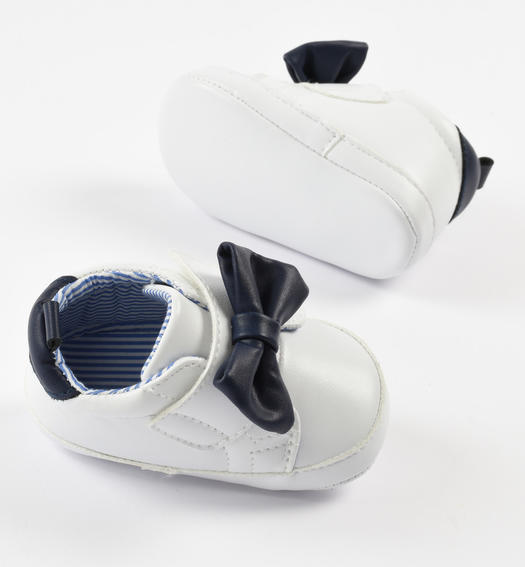 Faux leather newborn baby sneakers shoes with Velcro closure for baby girl from 0 to 24 months Minibanda BIANCO-0113