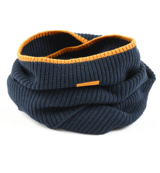 Ribbed ring scarf for boy from 6 to 16 years Sarabanda NAVY-3885