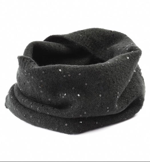 Ring scarf with micro sequins for girl from 6 to 16 years Sarabanda NERO-0658