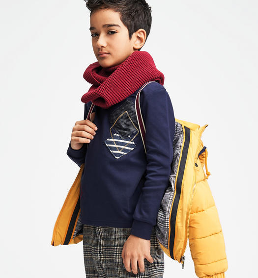 Ring scarf in ribbed tricot for boys from 6 to 16 years Sarabanda BORDEAUX-2537