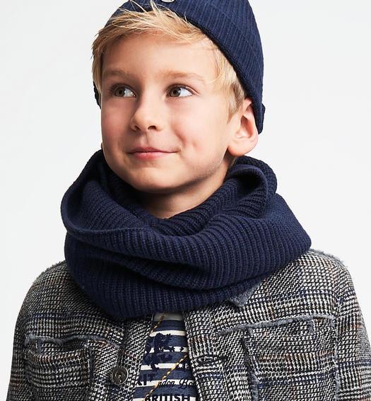 Ring scarf in ribbed tricot for boys from 6 to 16 years Sarabanda NAVY-3885