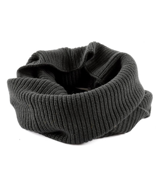 Ring scarf in ribbed tricot for boys from 6 to 16 years Sarabanda NERO-0658