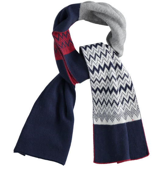 Jacquard scarf for boy from 6 to 16 years Sarabanda NAVY-3854