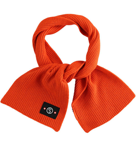 Tricot scarf made in ribbed knit for baby boys from 6 months to 7 years Sarabanda ARANCIO-1828