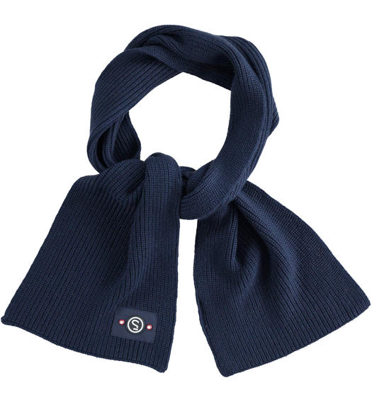 Tricot scarf made in ribbed knit for baby boys from 6 months to 7 years Sarabanda NAVY-3885