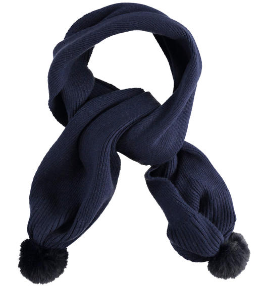 Soft knitted scarf with faux fur pompom for girl from 6 months to 7 years Sarabanda NAVY-3885