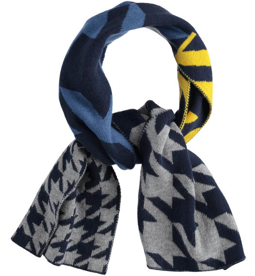 Pied de poule patterned knitted scarf for boy from 6 months to 7 years Sarabanda NAVY-3885