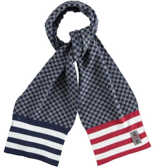 Tricot scarf made with squared pattern for boys from 6 to 16 years Sarabanda NAVY-3854