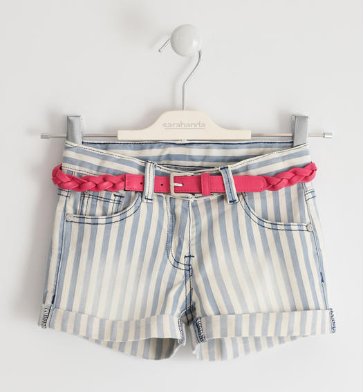 Sarabanda striped stretch cotton shorts for girl from 6 to 16 years PANNA-0112