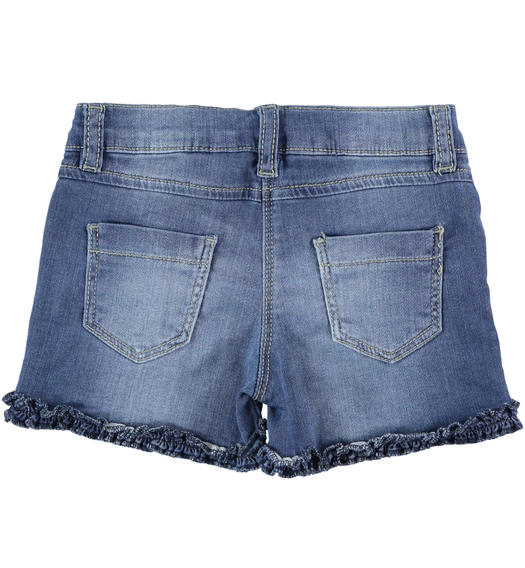 Sarabanda knitted denim shorts with heart of rhinestones for girl from 6 months to 7 years STONE WASHED-7450