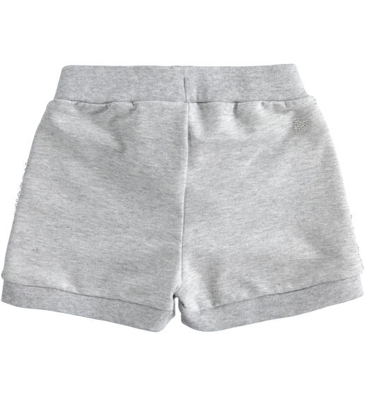 Sarabanda light fleece shorts with sequins for girl from 6 months to 7 years GRIGIO MELANGE-8992