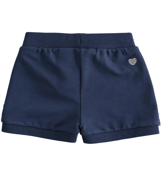 Sarabanda light fleece shorts with sequins for girl from 6 months to 7 years NAVY-3854