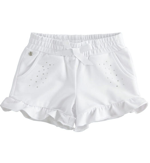 Sarabanda solid colour short with rhinestones for girl from 6 months to 7 years BIANCO-0113