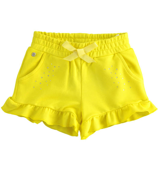 Sarabanda solid colour short with rhinestones for girl from 6 months to 7 years GIALLO-1434