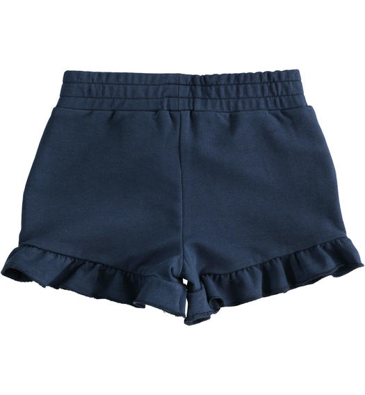 Sarabanda solid colour short with rhinestones for girl from 6 months to 7 years NAVY-3854