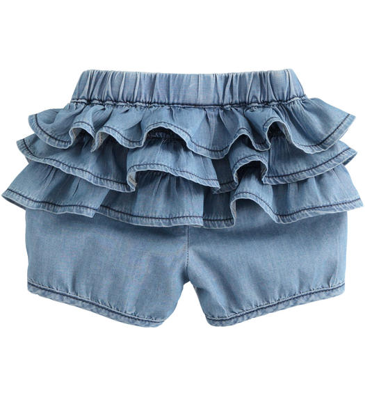 100% cotton denim effect baby girl shorts enriched with ruffles for baby girl from 0 to 24 months Minibanda BLU CHIARO LAVATO-7310