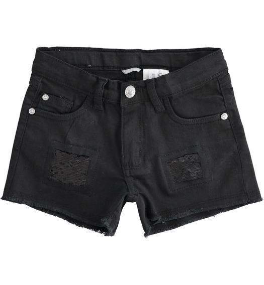 Shorts with broken details finished with sequins for girl from 6 to 16 years Sarabanda NERO-0658